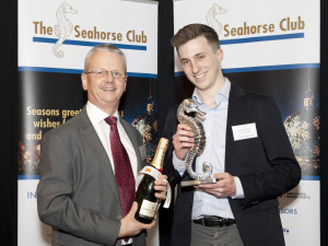 1218 Peregrine Storrs-Fox, TT Club presenting Seahorse Newcomer of the Year to Joseph Stewart, The Naval Architect