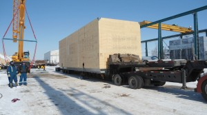 A 78000 lbs emulsion treater (Dimensions - 580x156x17 inches), being transported by Geodis Wilson for Caracal Energy from  Edmonton, Canada to Houston, US by land and then ocean to Douala, Cameroon, and then rail/truck to final job site in Chad